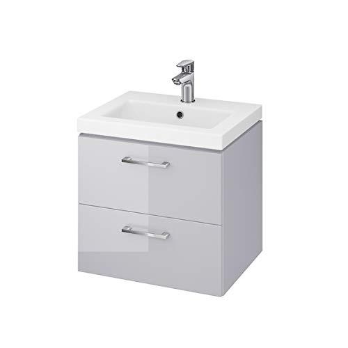 VBChome Waschplatz Waschtischunterschrank Badmöbel in grau Hochglanz Oberfläche, Bestehend aus Waschplatz und Waschbecken, Unterschrank 2 Schubladen Badezimmer/Badezimmermöbel für Gästebad Badezimmer