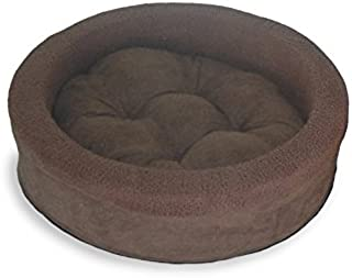 FurHaven Pet Dog Bed | Terry & Suede Cup Pet Bed for Dogs & Cats, Espresso, 18-inch Round