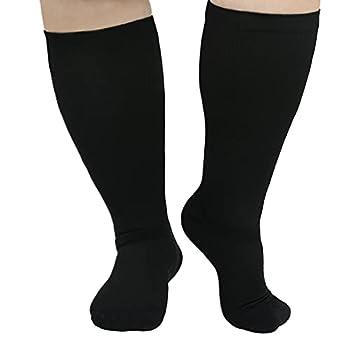 Plus Size Compression Socks Wide Calf Black Compression Socks for Women Circulation 20-30 mmhg Knee High Support XXL XXXL XXXXL