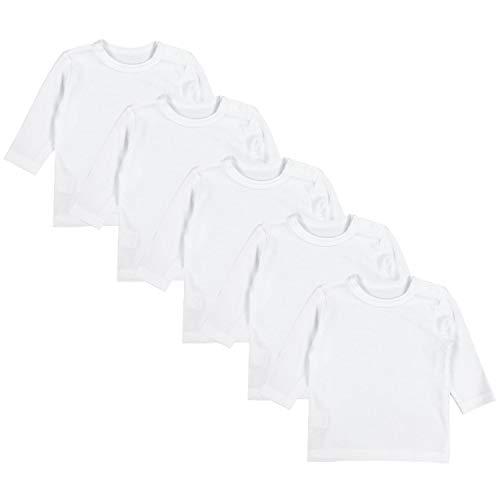 TupTam Baby Jungen Langarmshirt 5er Pack, Farbe: Weiß, Größe: 92
