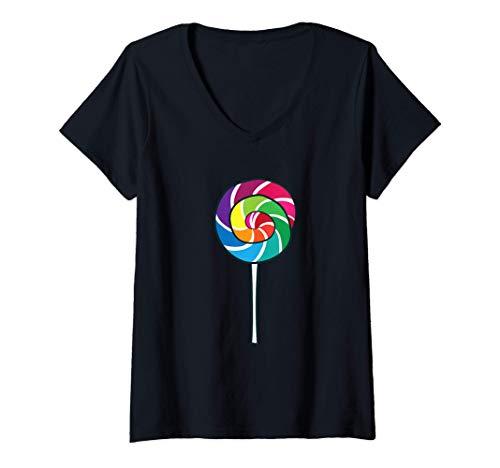 Mujer Chupetn de azcar Nios Chupetines Chupetn de dulces Camiseta Cuello V