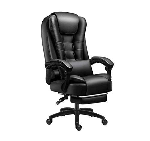 ZOUSHUAIDEDIAN Silla de oficina, silla de escritorio de computadora ejecutiva de cuero alto - brazos de flip-up y silla giratoria de ángulo de inclinación ajustable, relleno grueso para comodidad y di