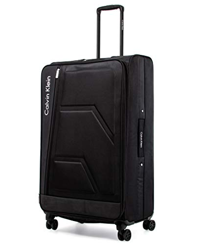 Calvin Klein Cross Track Softside Spinner Luggage, Black/White, 29 Inch