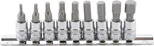 BGS 2749 | Bit-Einsatz-Satz | 9-tlg. | 6,3 mm (1/4 Zoll) | Innensechskant | Zollgrößen 3/32 - 3/8 Zoll | CV-Stahl