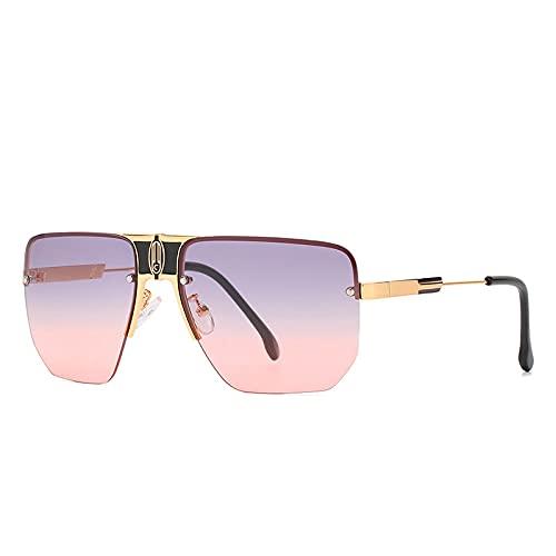 QWKLNRA Gafas De Sol para Hombre Marco Dorado Lente Rosa Gafas De Sol Deportivas Polarizadas Sin Montura Gafas De Sol para Mujer Hombre Gafas De Sol Gradiente Vintage Lente Acrílica Gafas para Muje