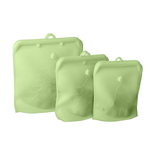 Quzzion Bolsas Reutilizables de Almacenamiento de Alimentos de 3 Piezas de Material de Silicona Bolsas de Congelador con Cierre de Cremallera a Prueba de Fugas Bolsas Reutilizables de