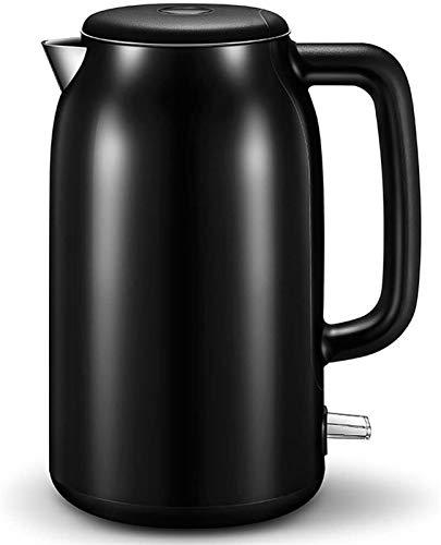 MMWYC Hervidor eléctrico de acero inoxidable 304, 1500 W, 1,7 L, apagado automático, protección antiseco, color blanco y negro (color: negro)