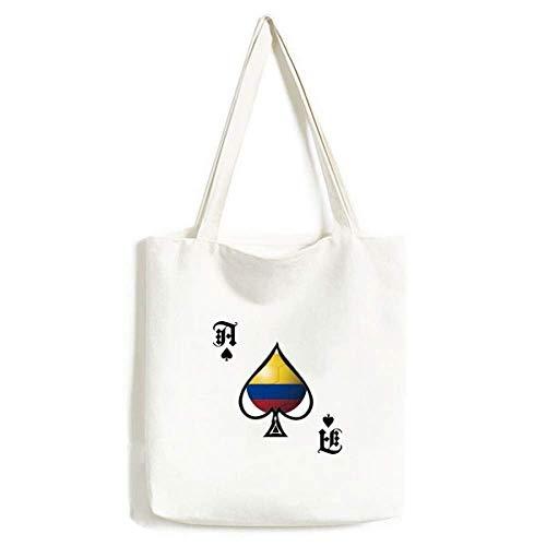 Handtasche mit Kolumbien-Nationalflagge, für Fußball, Handarbeit, Pokerspaten, waschbare Tasche