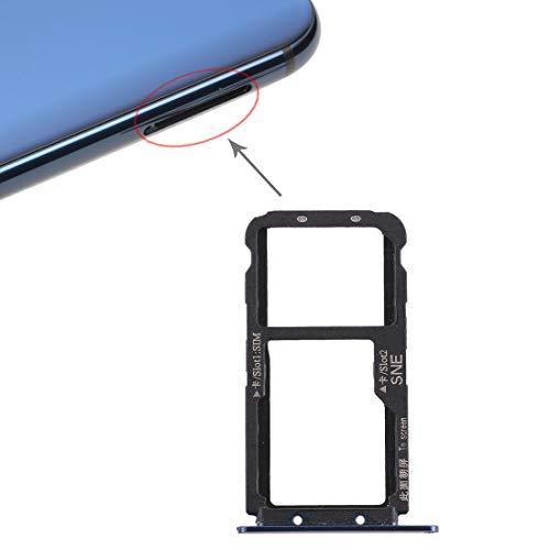 para Huawei Mate 20 Lite alojamiento soporte adaptador Slot Card tarjeta SIM Tray porta Compartimento Tarjetas Nano sim1 + Espacio de almacenaje Sim2 \ O Soporte memoria Micro SD ( Azul)
