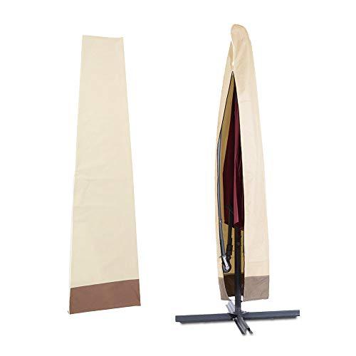 PandaHug Schutzhülle für Ampelschirm, 600D, Oxford, wasserdicht, Schutzabdeckung für Sonnenschirm, für den Garten, mit Mast und UV-Schutz, 200 x 60 x 55 cm, Beige-Kaffeebraun)