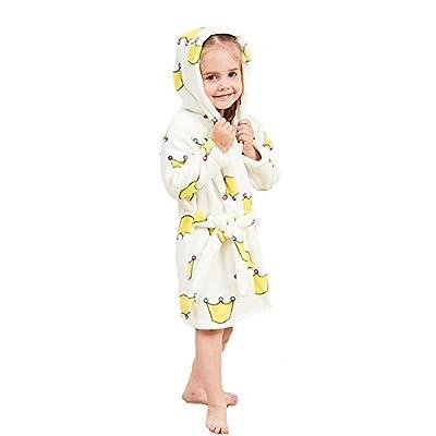 XINNE Boys Girls Hooded Bathrobe Unisex Toddlers Kids Sleepwear Flannel Pajamas