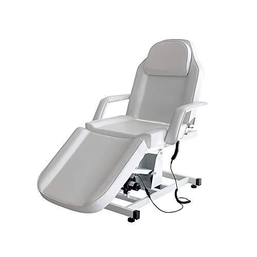 Camilla de masaje ajustable para cama de masaje plegable eléctrica de piel sintética con taburete para salón profesional y casa, 73 cm de largo x 188 cm de ancho x 60-82 cm de alto (blanco)
