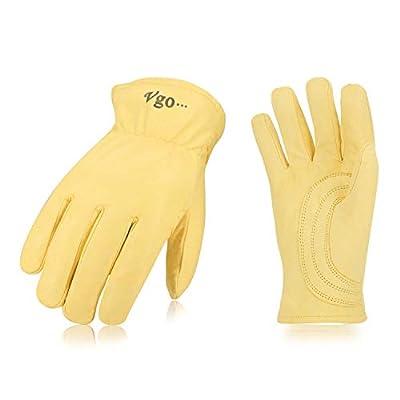 Vgo 2 Pairs Unlined Top Grain Goatskin Work and Driver Gloves(Light Yellow,GA9543)