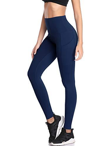 Neleus Women's Tummy Control High Waist Running Workout Leggings Yoga Pants,103,Navy Blue,US L