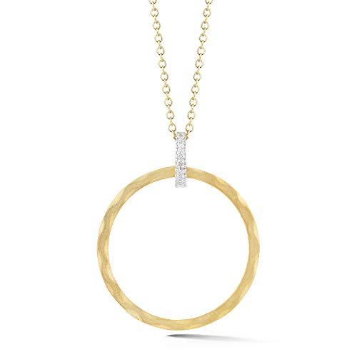 14K Yellow Gold 0.06ct TDW Diamond Accent Open Round Pendant Necklace (0.06 Ct Tdw Diamond)