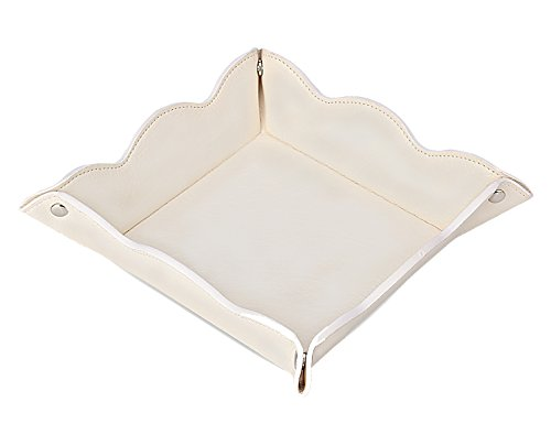 LISRSC Leather Valet Tray for Women,Trinket Jewelry Cosmetic Organizer Catchall Tray for Desk Dresser Nightstand (Off White)