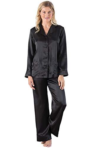 Addison Meadow Womens Satin Pajamas - Pajama Set for Women, Black, Large / 12-14