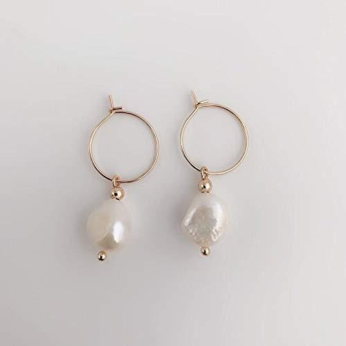 Nobrand Ohrringe für Damen Gold Creolen Süßwasserperlen Ohrringe Modeschmuck