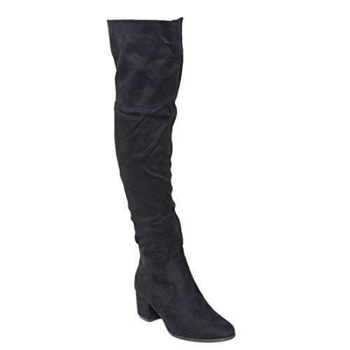 Nature Breeze Women's Linden-01 Over The Knee Mid High Block Heel Boots,Black,6