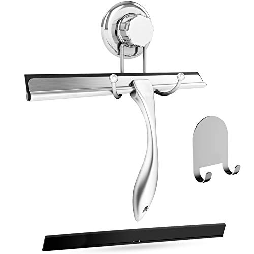 HASKO accessories Bathroom Shower Squeegee Chrome Plated Stainless Steel with Matching Suction Cup Hook Holder, 3M Adhesive Mounting Disc, 3M Hook,1 Replacement Rubber Blade, 9.8-Inch