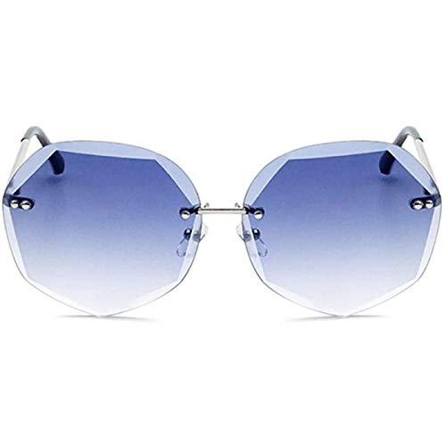 ZHANG Gafas de Sol de Corte de Cristal para Mujer Polígono de Moda Protección UV400 Lente de Gradiente de Marco Plateado,Gray