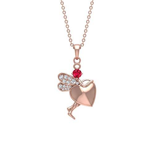 14 Karat massives Gold Herz Schmetterling IGI zertifiziert Diamant Anhänger Solitär Rubin Edelstein SGL zertifiziert Charm Halsketten Geburtsstein Engelsflügel Anhänger, 14K Roségold Mit Kette