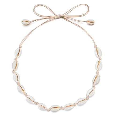 Fesciory Puka Shell Necklace for Women, Natural Seashell Choker Boho Hawaiian Cowrie Jewelry for Girls