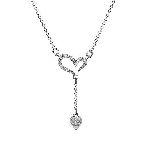 DFGH Mujer Collar corazón Colgante 925 Plata ''Ecos de Amor'' con San Valentín Regalo Originales Cadena 42cm Longitud