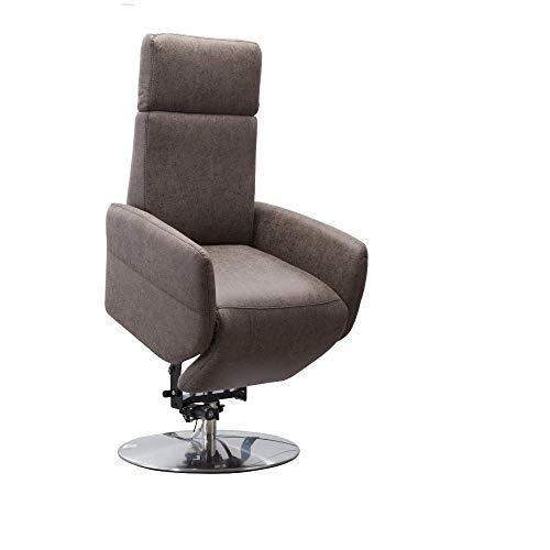 Cavadore TV-Sessel Cobra mit 2 E-Motoren und Aufstehhilfe / Elektrischer Fernsehsessel mit Fernbedienung / Relaxfunktion, Liegefunktion / bis 130 kg / S: 71 x 108 x 82 / Lederoptik Dunkelbraun