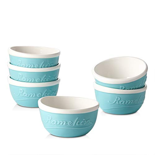 DOWAN 6 Oz Ramekins, Ceramic Souffle Ramekin Sauce Baking Cups, Creme Brulee Ramekins, Lava Cakes Dessert Small Bowls, Embossed Ramekins Set of 6