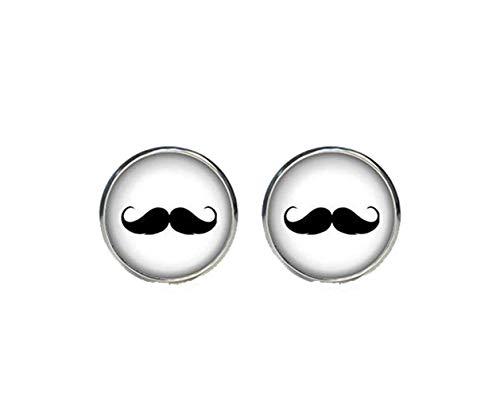 Bloody devil Gemelos de bigote chapados en plata, para hombre, accesorios hipster,...