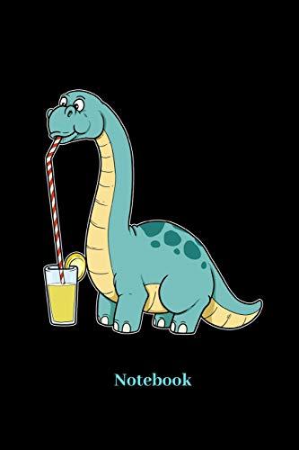 Notebook: Liniertes Notizbuch für Limonade, Brause, Sommer, Brontosaurus, Dino und Dinosaurier Fans - Notizheft Klatte für Männer, Frauen und Kinder