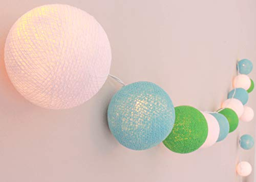CREATIVECOTTON Guirlande Lumineuse, Boules de Coton avec Mode Timer et Mode Veilleuse (Breeze, 20 boules)