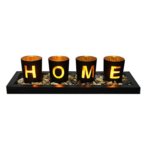 ShapeW 4 bicchieri di vetro portacandele con vassoio in legno rocce pietre casa lettere candelabro tealight tazza decorazione tavolo