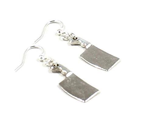 Silver Knight Pendientes de cuchillo de cocinero machete con ganchos de plata de ley en una bolsa de regalo