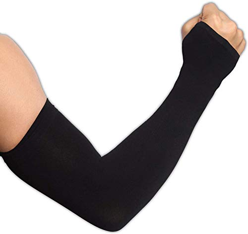 UV Sun Protection Arm Sleeves for Men & Women - UPF 50 Cooling Sports Compression Athletic Arm Shield with Hand Cover for Basketball, Running, Cycling, Golf, Volleyball, Baseball & Football