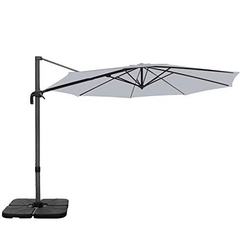 RANSENERS Sonnenschirm Gartenschirm Ampelschirme, 300cm Ø, Gestell Aluminium/Stahl, Bespannung Polyester mit UV 80+ Schutz, 360° Drehbar, 4 Stufen einstellbar