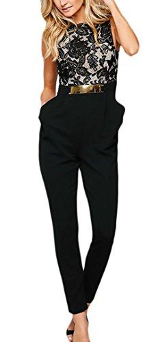 Tuta Donna Elegante da Cerimonia Festa Lunghe Tutine Vintage Pizzo Cucitura Fashionable Completi Smanicato Rotondo Collo Slim Backless Cocktail Banchetto Jumpsuit Tute (Color : Nero, Size : S)