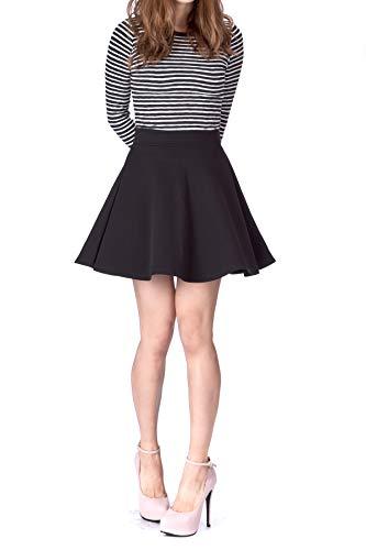 Basic Solid Stretchy Cotton High Waist A-line Flared Skater Mini Skirt (XS, Black)
