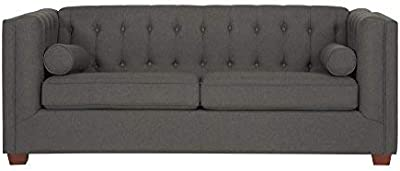 Coaster Home Furnishings Cairns Sofa with Tufted Back and Lumbar Pillows Charcoal