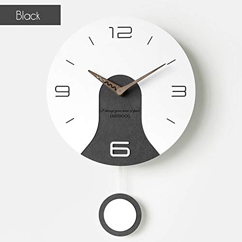 XM&LZ Silenciosa Relojes De Pared Cuarzo,Redondo Pilas Moderno Reloj De Pared con Swing Numeral Arábigo Fácil De Leer Casa Oficina Relojes Negro 11inch