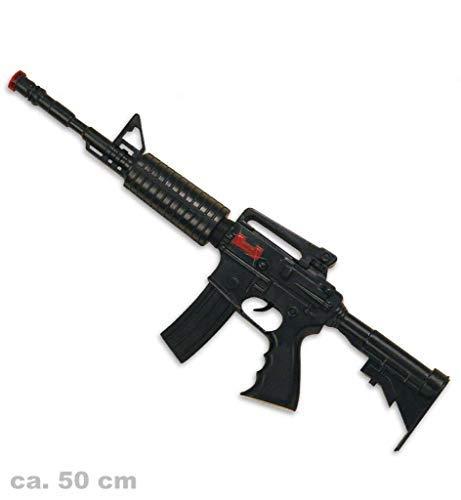 KarnevalsTeufel Spielzeug - Maschinengewehr M16 mit Sound, ca. 50 cm lang | Kostüm, SWAT, Polizei, FBI, CSI, Agent, Ermittler, Karneval