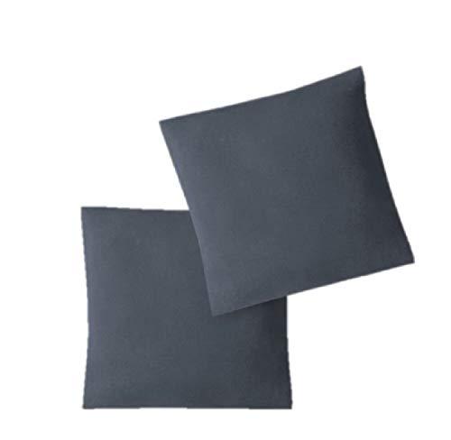 EXKLUSIV HEIMTEXTIL Housse de taies d'oreiller en Jersey 2 Pack économique avec Fermeture éclair de Haute qualité 80 x 80 cm Anthracite