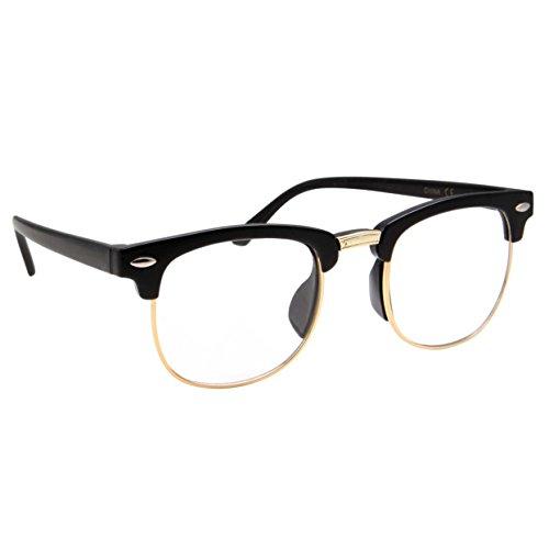 grinderPUNCH Gafas para nios con Montura Media y Lentes Transparentes para Disfraz de Geek (Edad 3  8), Negro y Dorado, Children Age 3-8