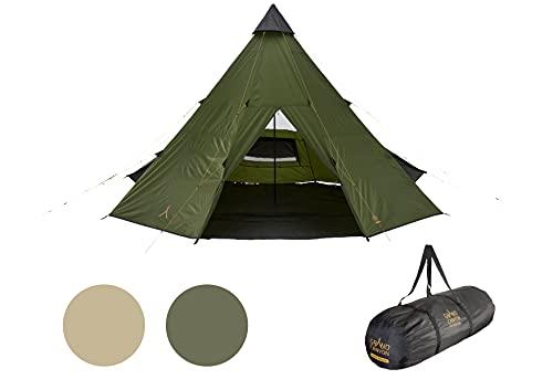 Grand Canyon BLACK FALLS 8 - tente ronde pour 8 personnes | Tente familiale, tente de groupe, tente pyramide, tipi | Capulet Olive (Vert)