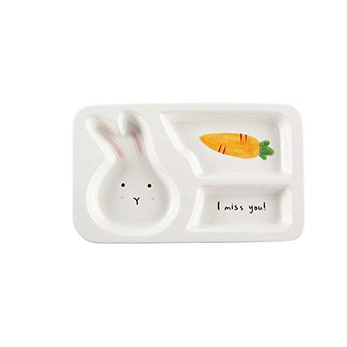 zhpjjlyhtq Le repas des enfants cartoon compartiment plaque plaque de séparation bébé vaisselle pour enfants cute céramique assiette petit-déjeuner accueil séparés rice plate,Lapin - plat unique