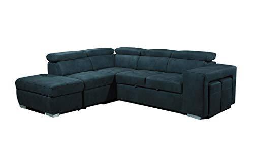 Muebletmoi - Sofá esquinero izquierdo convertible cómodo, tacto suave de ante sintético, almacenamiento, 2 pufs – Vegas