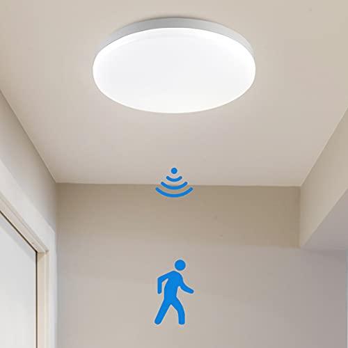 SHILOOK LED Deckenleuchte mit Bewegungsmelder Innen, 15W Radar Deckenlampe Rund IP44 Wasserfeste für Flur/ Keller/ Garage/ Balkon, 1500LM Neutralweiß 4000K, Modern 28cm Weiß