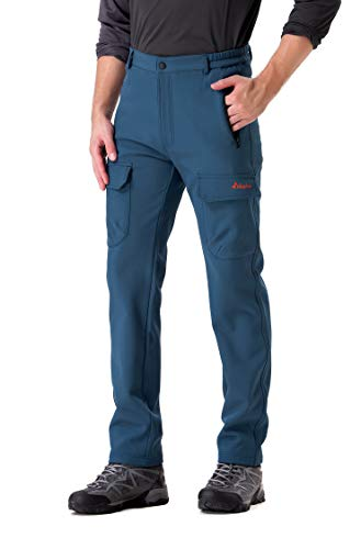 Clothin Men's Softshell Fleece-Lined Cargo Pants - Warm, Breathable, Water-Repellent, Wind-Resistant-Insulated(Navy,M)