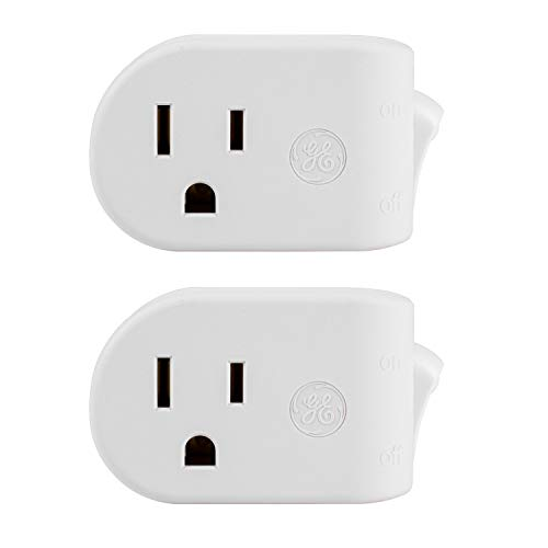GE, White, UltraPro Grounded On/Off Power Switch 2 Pack, Plug, Energy Efficient, Space Saving Design, UL Listed, 15A, 120VAC, 1800W, 39713